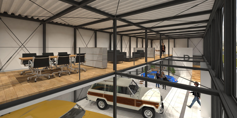 ショールームの適切な事務スペースを奥行きの半分のフロアで設定しています。手前と奥の天井高が異なるようにデザインしているため、吹き抜けがなおさら豊かな空間性を生み出しています。
