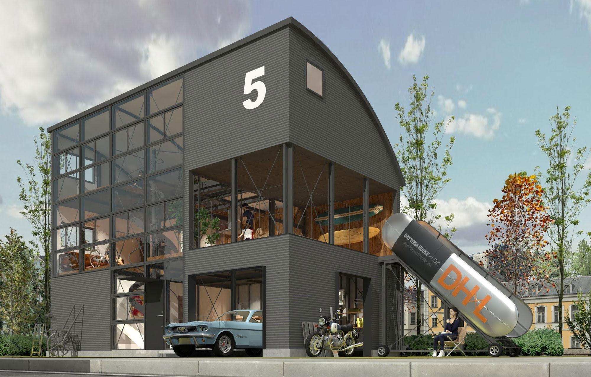 全身を銀黒のガルバリウムで包んだシャープな外観が#2の特徴のひとつで、あたかも工業系の事務所のような印象が既存の住宅にはないユニークなポイントです。ガレージはクルマ好き、バイク好き仕様であることはお約束の二方向開放。1階にはガレージリビングも設置しており、仕事場所としても活用可能です。